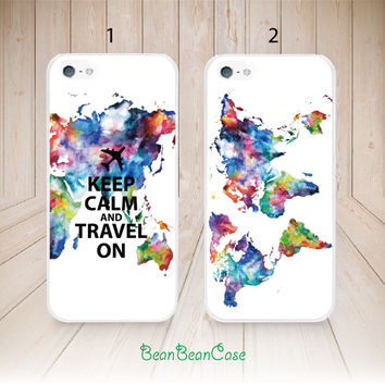 Personalized custom quote, Keep Calm and Travel On map case for iPhone 6, Samsung S5/Note4, Sony, LG Nexus, Nokia Lumia, HTC One, Moto(L69)