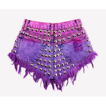 804 Pink/Purple Dyed Studded Babe Shorts