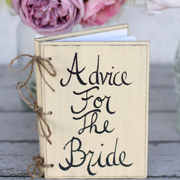 Bridal Shower Guest Advice Book Shabby Chic Wedding Decor