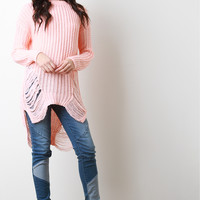 Shredded Loose Knit Long Sleeve Sweater | UrbanOG