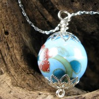 Sky Blue Painted Porcelain Bead Necklace on Silver Plated Chain