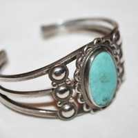 Sterling Turquoise Cuff Bracelet Native American Pawn 1940s Jewelry