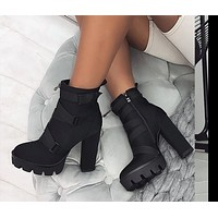 Fashionable 12cm Thick Heel Ankle Boots For Women