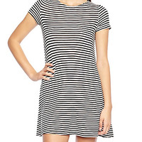 Striped Short Sleeve Dress With Exposed Zipper Back Detail
