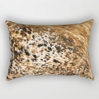 Rustic Country Western Texas Long Horn Cow Animal Hide Prints Rectangular Pillow by KateLCardsNMore