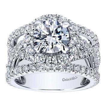"Gabriel ""Angelou"" 18K White Gold Halo Contemporary Split Shank Diamond Engagement Ring"