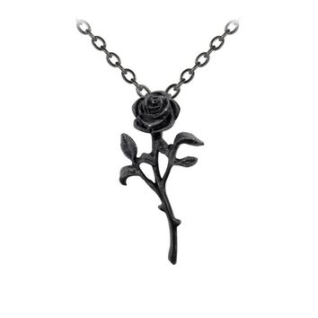 Alchemy Gothic The Romance of The Black Rose Pendant Necklace