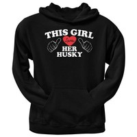 CREYCY8 This Girl Loves Her Husky Black Adult Pullover Hoodie