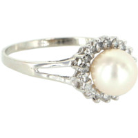 Cultured Pearl Diamond Round Halo Ring Vintage 14 Karat White Gold Estate Jewelry