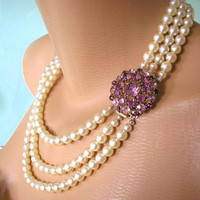Amethyst Necklace Pearl Choker Mother of the Bride Great Gatsby Jewelry Statement Necklace Pearl Collar Wedding Necklace Bridal Jewelry Deco
