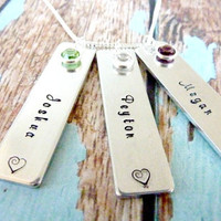 Mother's Day Personalized Bar Necklace Rectangular Silver Birthstone Necklace