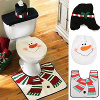 Xmas Toilet Seat Cover Christmas Decorations Santa Snowman Toilet Seat Cover Bathroom Rug Set Gifts Home Decor = 1945899780