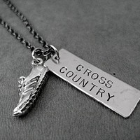 Cross Country Dog Tag Style Necklace on 18 inch Gunmetal Chain - Pewter Running Shoe Charm with Hand Hammered Nickel Silver Hand Stamped Pendant