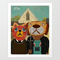 dog cat gothic Art Print by bri.buckley