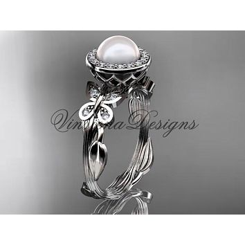 14kt white gold, pearl, butterfly, leaf and vine, halo engagement ring VFP301020