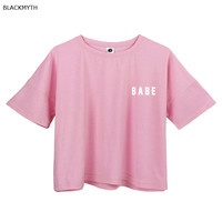 BLACKMYTH BABE Print White Crop Tops Summer Short Sleeve T shirts Harajuku Fitness Women Fashion T-shirt Pink Black