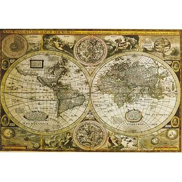 Historical World Map Education Poster 24x36