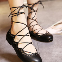Black Eyelet Detail Lace Up Ballet Flats