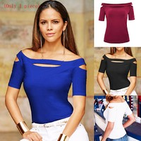 New women's one-shoulder slim short-sleeved T-shirt top(Only 1 piece)