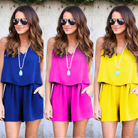 Women Clubwear 2017 Summer Beach Playsuit Bodycon Jumpsuit Chiffon Backless V Neck Romper