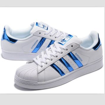 Adidas Fashion Shell-toe Flats Sneakers Sport Shoes Blue-2