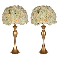 "2-Piece Metal Flower Ball Vase Set 23""H (Gold)"