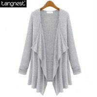 TANGNEST Fashion Brief Solid Loose Cardigan 2016 Woman Ruched Basic Open Stitch Sweater Casual Knitted Coat All Size Fit WWK473