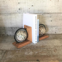 Bookends Globe Bookends Wood Bookends Old World Map Globe Bookends Library Decor Mid Century Office Decor Cottage Chic Bookends
