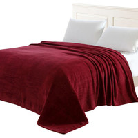 Vanessa Solid Micro Plush Blanket Burgundy - Contemporary - Blankets - by Closeoutlinen