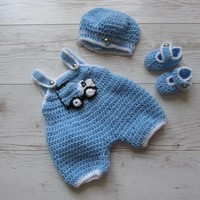 Crochet boy pants with truck applique matching hat and shoes