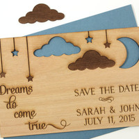 Wood Save the Date Cards - Unique Wood Cards - Dreams Come True - Stars and Moon