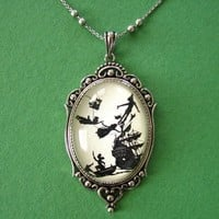 Peter Pan Necklace pendant on chain by tinatarnoff on Etsy