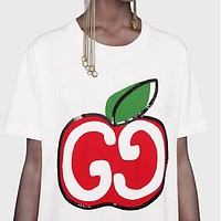 GUCCI Summer Women Men Casual Apple Sequins Print Short Sleeve T-Shirt Top