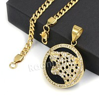 316L Stainless Steel Medallion Iced BLK Jaguar Pendant w/ 4mm Miami Cuban Chain