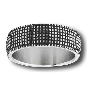 Grid Square Wide Wedding Ring Stainless Steel Modern Honeycomb Band Sizes 7-13