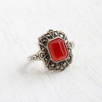 Vintage Art Deco Carnelian Red Ring - Size 7 1930s Sterling Silver & Marcasite Signed Uncas Jewelry / Embossed Shoulders