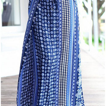 Boho print  beach skirt ankle-length
