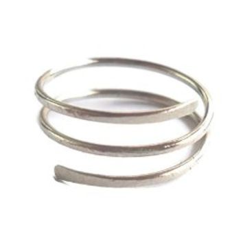 Statement Twisted Ring Size 6 Hammered 925 Sterling Silver Wire