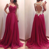 Pink Crochet Lace Back Patch Chiffon Gown