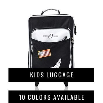 Obersee Kids Travel Suitcase with Integrated Snack Lunch Box Cooler | Toddler Rolling Luggage