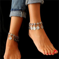 1Pcs Gypsy Festival Turkish Silver Coin Tassels Anklet Bracelet Beach Foot Jewelry+ Gift Box