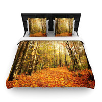 """Sylvia Cook """"Autumn Leaves"""" Rustic Woven Duvet Cover"""