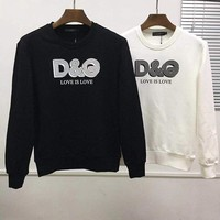 D&G Dolce & Gabbana Men Long Sleeve Fashion T-Shirt Top Tee Black White