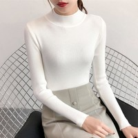 On sale 2019 winter Women ladies sweater high elastic Solid half Turtleneck sweater women slim casual tight Knitted Pullovers