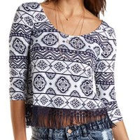 Navy Combo Paisley Print Crochet Fringe Crop Top by Charlotte Russe