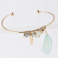 Feather and Pearl Cuff Bracelet - White or Mint