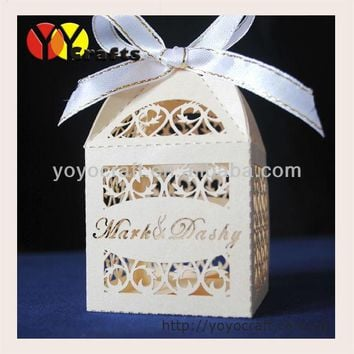 laser cut party supply wedding favors and gifts box with free name logo