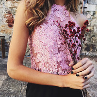 Summer Fashion Floral Embroidered Lace Halter Tops Sexy Women Nude Mesh Backless Tank Tops