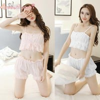 Amourlymei Summer Sexy Cotton Lace Women Pajama Set Japanese Style Mori Girl Lolita Kawaii Seep Set Princess Sleepwear Homewear