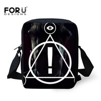 FORUDESIGNS Men Messenger Bags Panic at the Disco Print Punk Boys Crossbody Bags Teen Small Cool Shoulder Satchel 3D Triangle